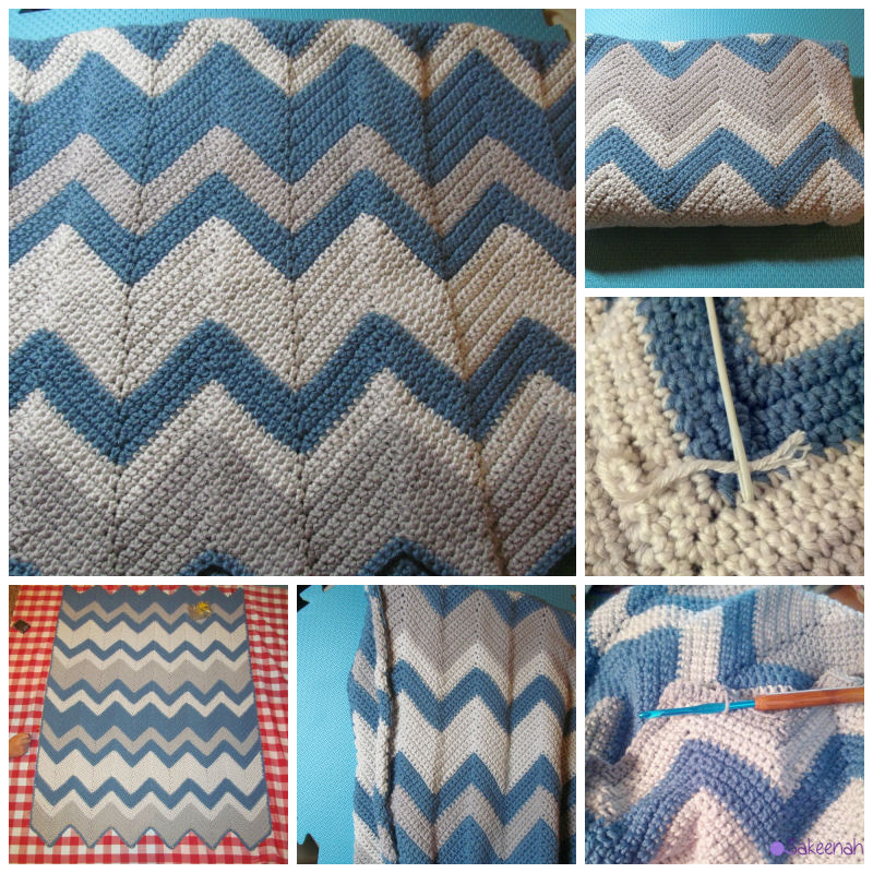 Blue Gray White Crochet Chevron Baby Blanket | Sakeenah.com