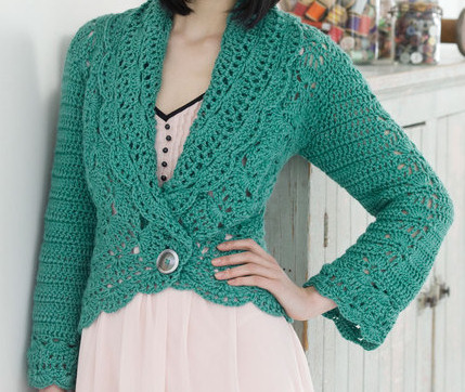 Filigree Cardigan Free crochet pattern from Red Heart. Shared on Weekly Pattern Roundup for the Fiber Arts 4 Sakeenah.com
