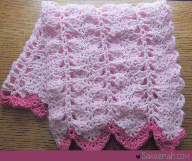 Double Crochet Ripple Baby Afghan Pattern : A Crocheted Pink Baby Girl Blanket - Sakeenah